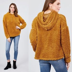 S,M,L Faux Fur Drawstring Hoodie Mustard Color